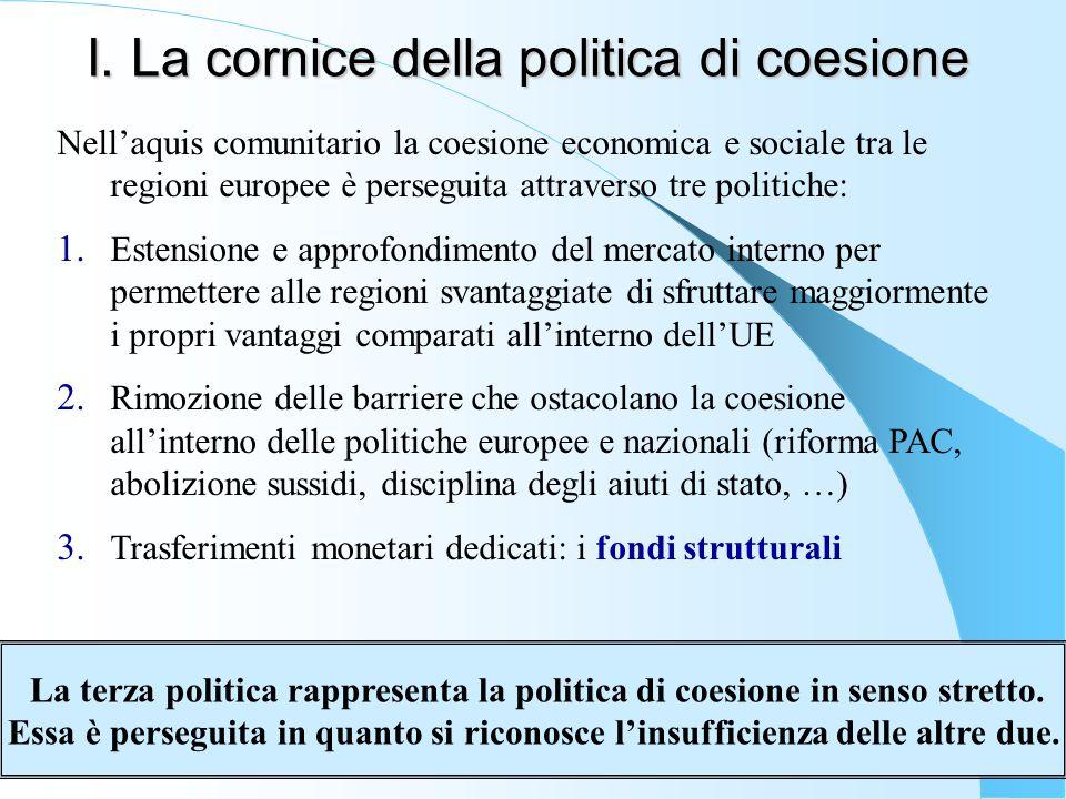 I. La cornice della politica di coesione Nell'aquis comunitario la coesione economica e sociale tra le regioni europee è perseguita attraverso tre pol