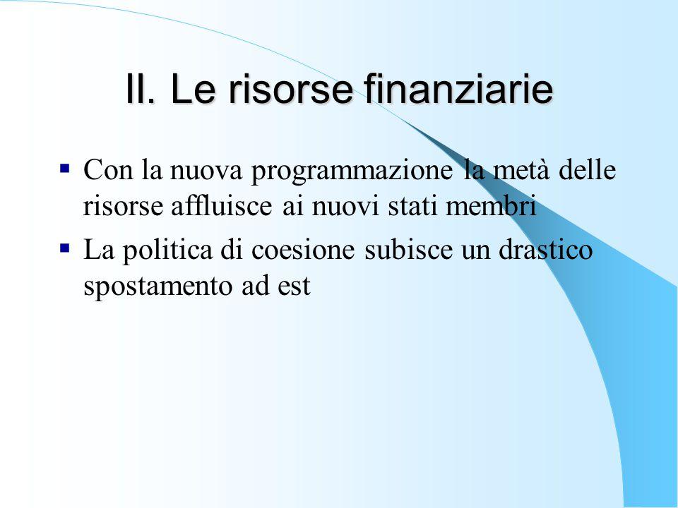 II. Le risorse finanziarie  Con la nuova programmazione la metà delle risorse affluisce ai nuovi stati membri  La politica di coesione subisce un dr