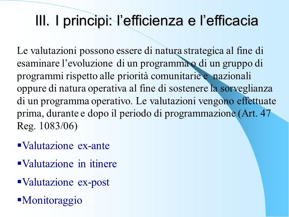 III. I principi: l'efficienza e l'efficacia Le valutazioni possono essere di natura strategica al fine di esaminare l'evoluzione di un programma o di