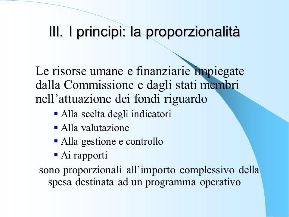 III. I principi: la proporzionalità Le risorse umane e finanziarie impiegate dalla Commissione e dagli stati membri nell'attuazione dei fondi riguardo