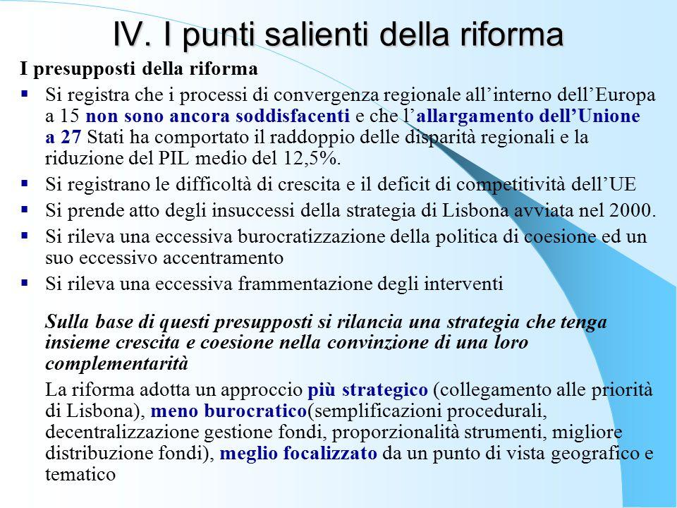 IV. I punti salienti della riforma I presupposti della riforma  Si registra che i processi di convergenza regionale all'interno dell'Europa a 15 non