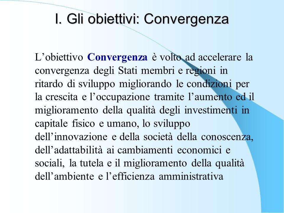 I. Gli obiettivi: Convergenza L'obiettivo Convergenza è volto ad accelerare la convergenza degli Stati membri e regioni in ritardo di sviluppo miglior