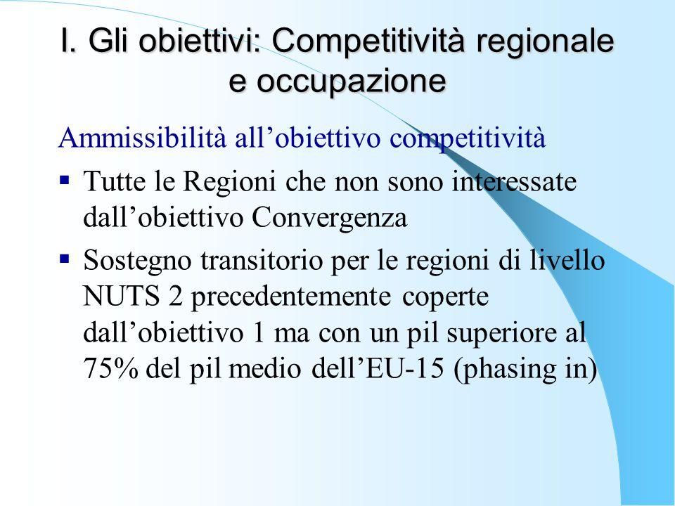I. Gli obiettivi: Competitività regionale e occupazione Ammissibilità all'obiettivo competitività  Tutte le Regioni che non sono interessate dall'obi