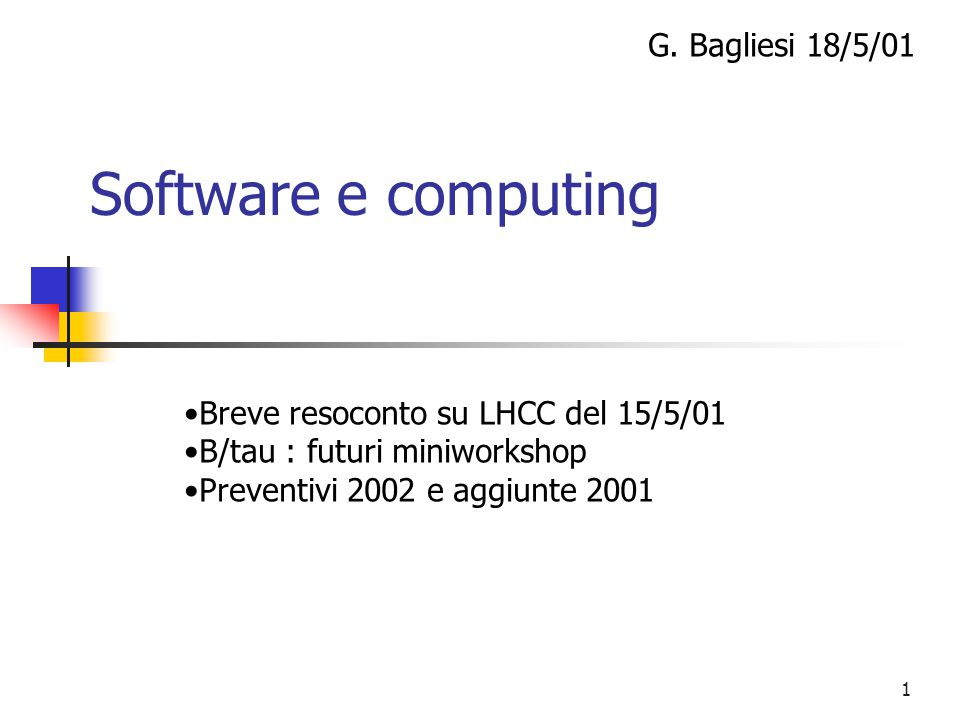 1 Software e computing G.