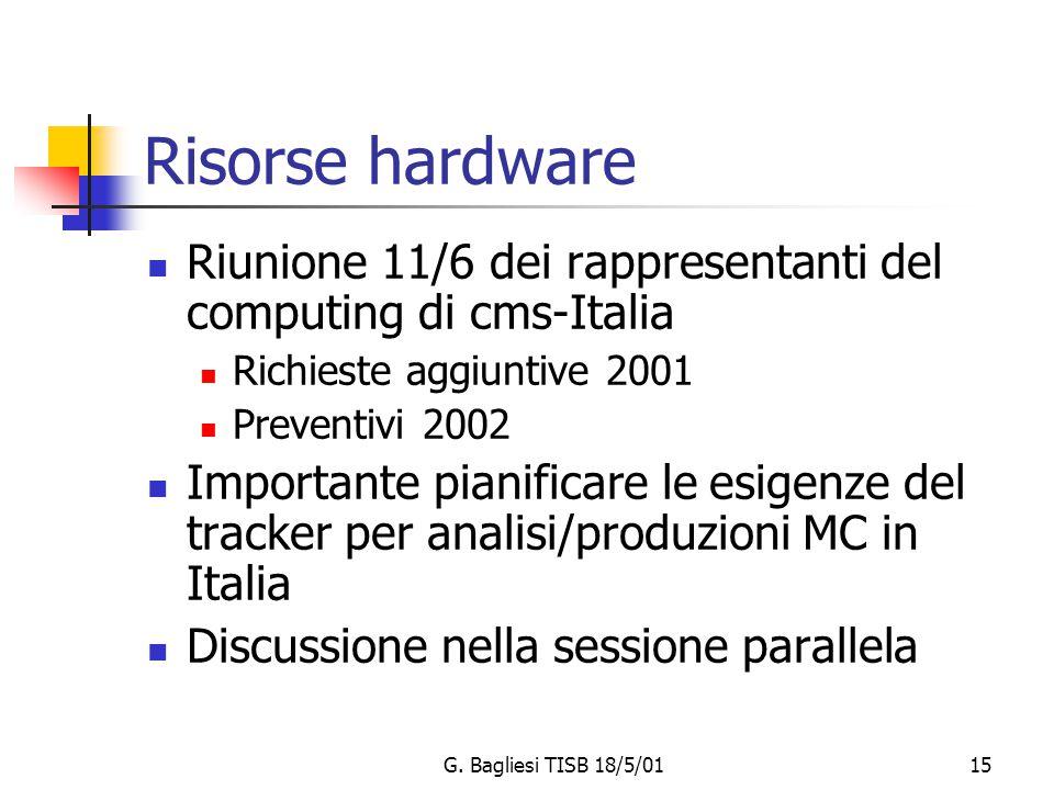 G. Bagliesi TISB 18/5/0115 Risorse hardware Riunione 11/6 dei rappresentanti del computing di cms-Italia Richieste aggiuntive 2001 Preventivi 2002 Imp