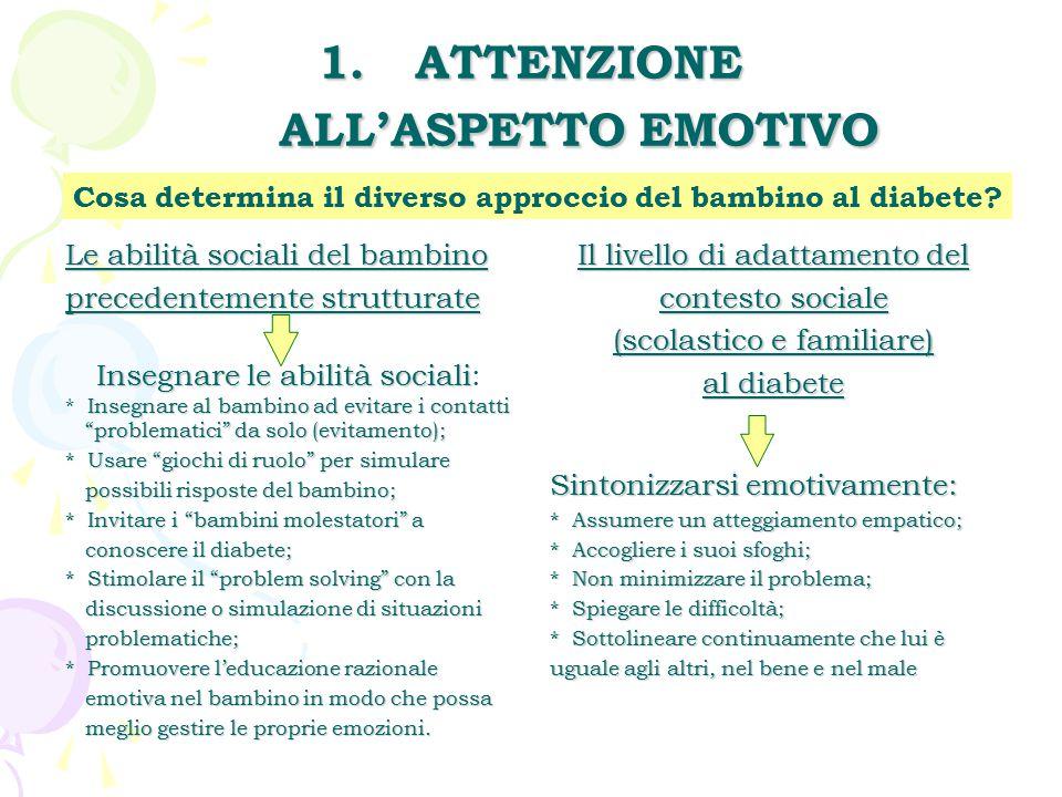 1.ATTENZIONE ALL'ASPETTO EMOTIVO Le abilità sociali del bambino precedentemente strutturate Insegnare le abilità sociali Insegnare le abilità sociali: