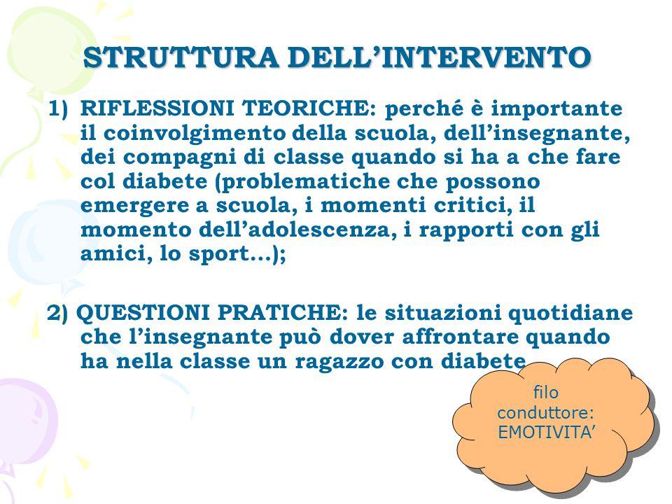 STRUTTURA DELL'INTERVENTO 1)RIFLESSIONI TEORICHE: perché è importante il coinvolgimento della scuola, dell'insegnante, dei compagni di classe quando s