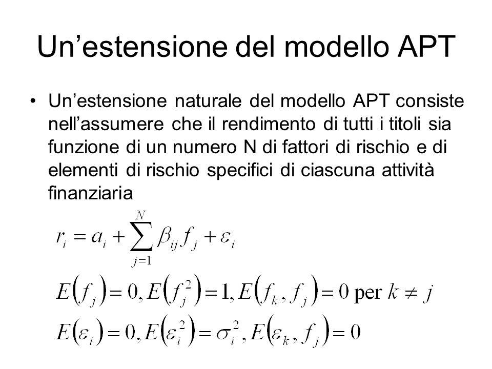 Un'estensione del modello APT Un'estensione naturale del modello APT consiste nell'assumere che il rendimento di tutti i titoli sia funzione di un num