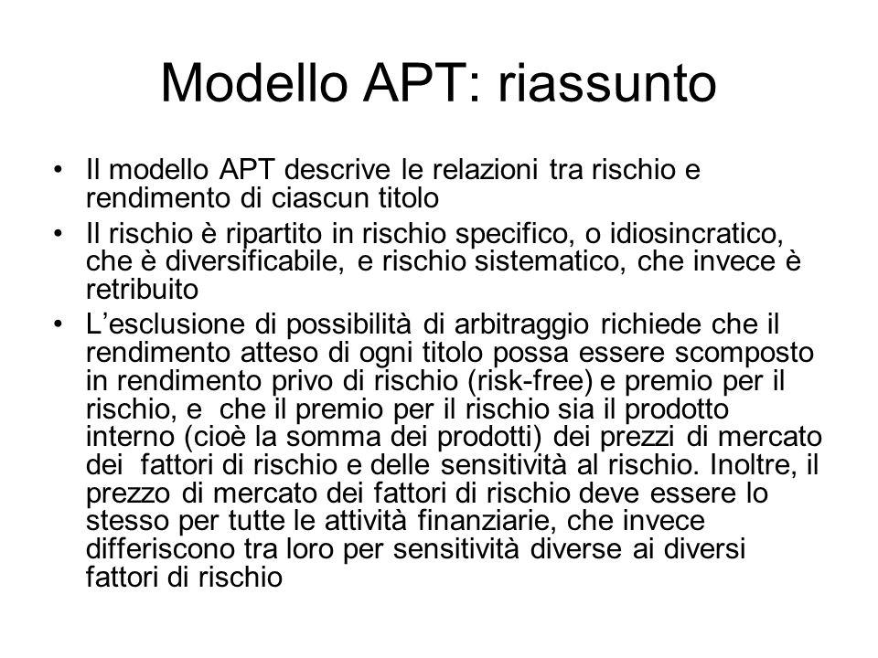 Modello APT: riassunto Il modello APT descrive le relazioni tra rischio e rendimento di ciascun titolo Il rischio è ripartito in rischio specifico, o