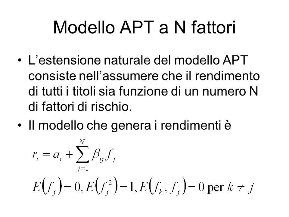 Modello APT a N fattori L'estensione naturale del modello APT consiste nell'assumere che il rendimento di tutti i titoli sia funzione di un numero N d