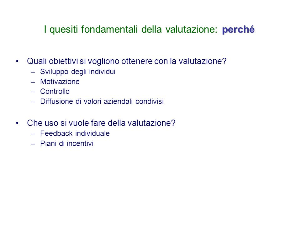 La valutazione delle prestazioni Il caso Regione Lazio