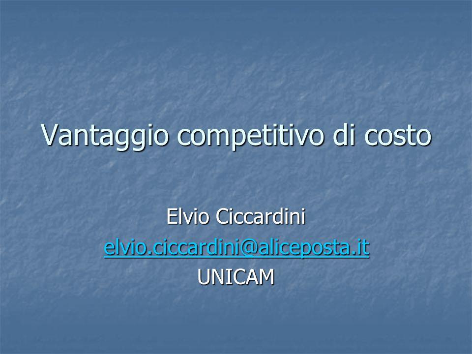 Vantaggio competitivo di costo Elvio Ciccardini elvio.ciccardini@aliceposta.it UNICAM