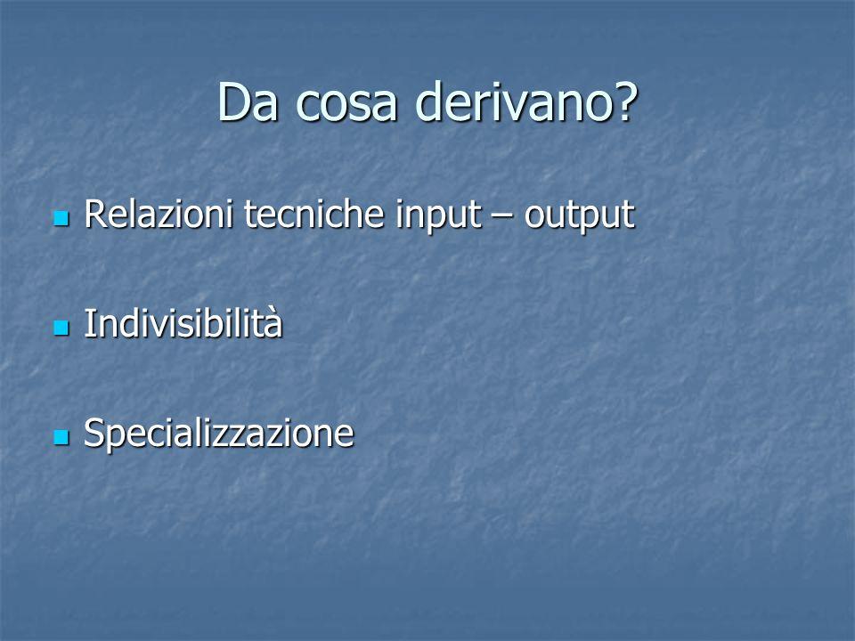 Da cosa derivano? Relazioni tecniche input – output Relazioni tecniche input – output Indivisibilità Indivisibilità Specializzazione Specializzazione