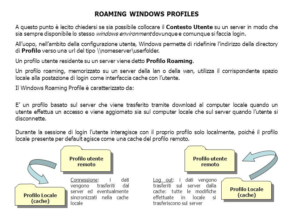 CARATTERISTICHE DEI ROAMING WINDOWS PROFILES  L'account utente e la relativa password devono essere validi sia per la workstation che per il server  L'accesso al server in fase di login è ottimizzato, poiché vengono trasferiti solo i file non presenti localmente e/o quelli più aggiornati  In fase di logout la comunicazione con il server si basa su una copia incrementale dei dati locali  Quando l'utente opera off-line, Windows utilizza il profilo locale che verrà sincronizzato con quello sul server al prossimo login  Si possono usare anche più macchine client per uno stesso account utente poiché i file utente presenti su una workstation, dopo essere stati trasferiti sul profilo comune, saranno esportati anche verso le altre postazioni.