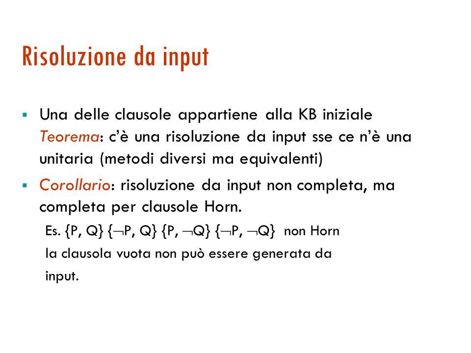 Risoluzione unitaria (cont.)  Facile da implementare, si converge rapidamente  Problema: la strategia non è completa Es.
