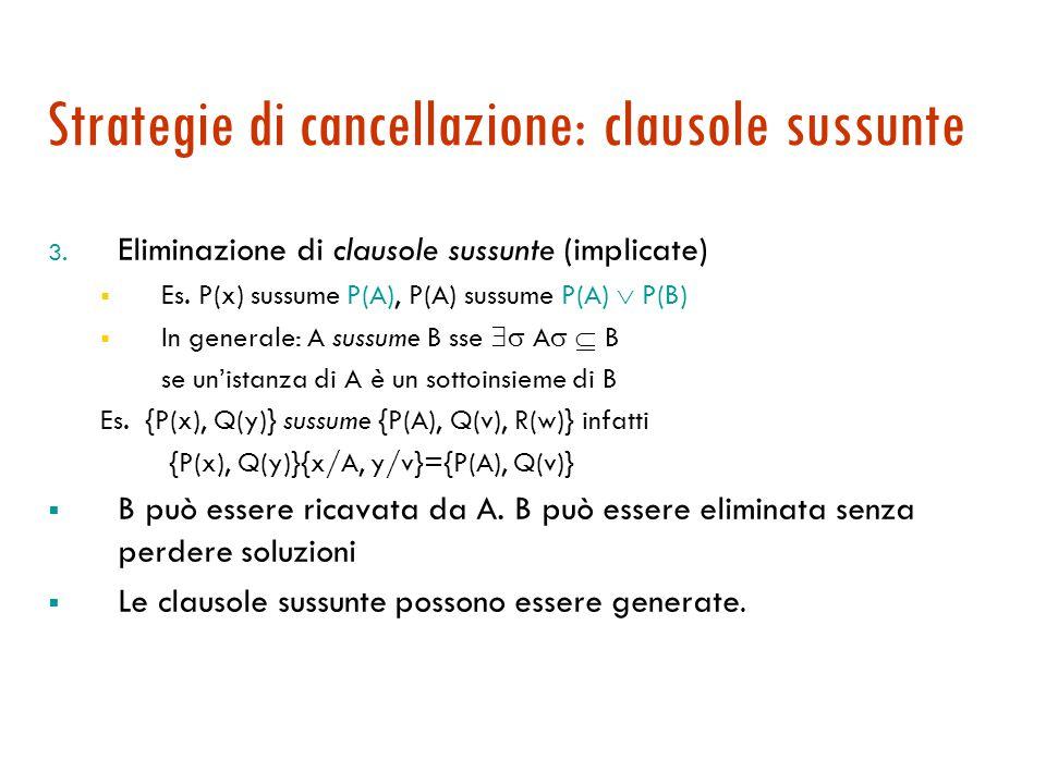 Strategie di cancellazione: clausole sussunte 3.