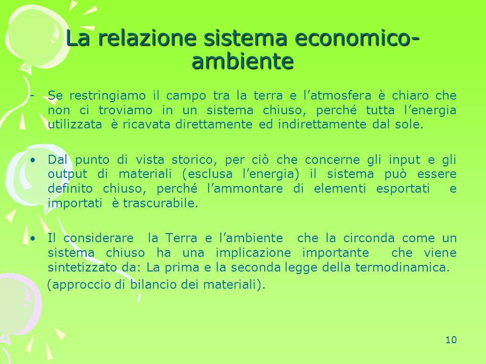 10 La relazione sistema economico- ambiente -Se restringiamo il campo tra la terra e l'atmosfera è chiaro che non ci troviamo in un sistema chiuso, pe