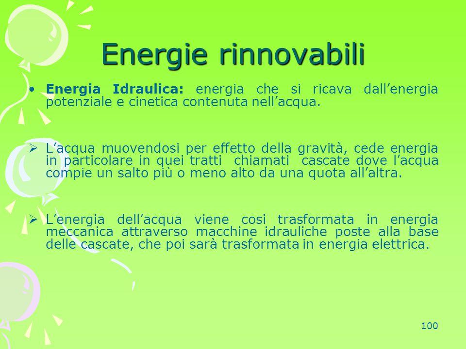 100 Energie rinnovabili Energia Idraulica: energia che si ricava dall'energia potenziale e cinetica contenuta nell'acqua.  L'acqua muovendosi per eff