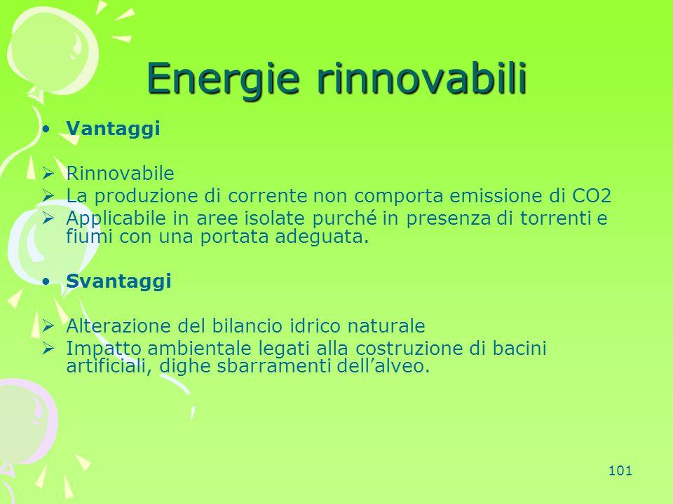 101 Energie rinnovabili Vantaggi  Rinnovabile  La produzione di corrente non comporta emissione di CO2  Applicabile in aree isolate purché in prese