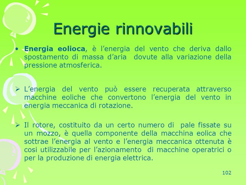 102 Energie rinnovabili Energia eolioca, è l'energia del vento che deriva dallo spostamento di massa d'aria dovute alla variazione della pressione atm