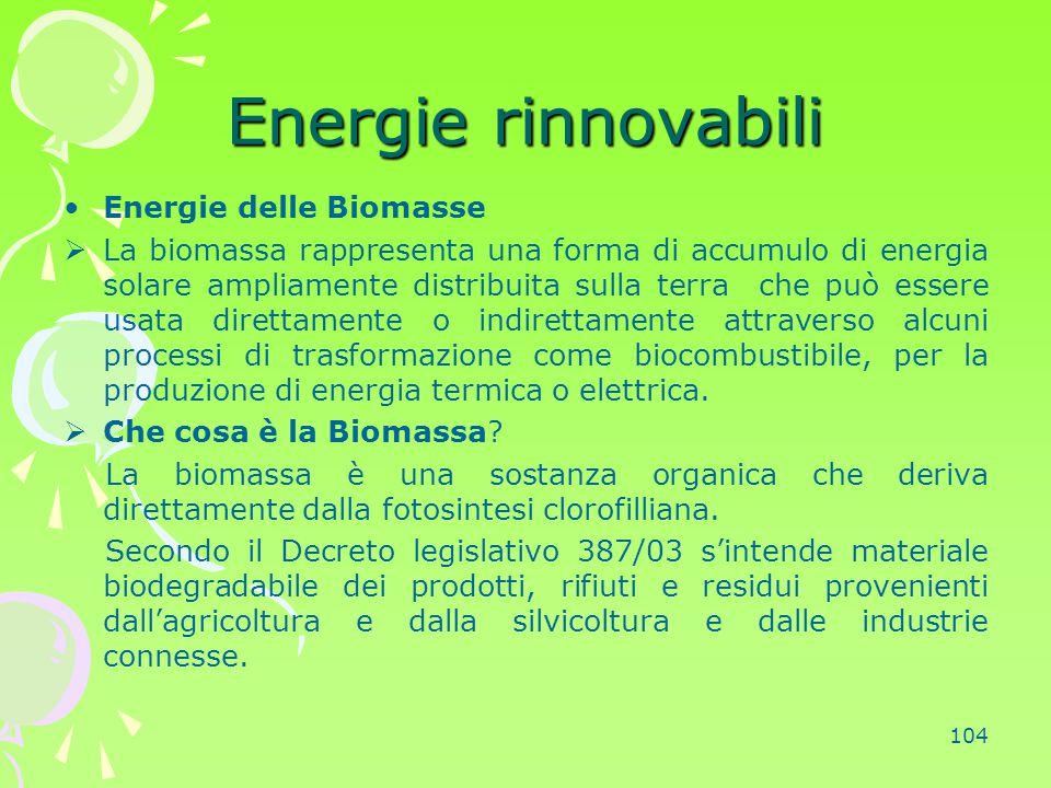 104 Energie rinnovabili Energie delle Biomasse  La biomassa rappresenta una forma di accumulo di energia solare ampliamente distribuita sulla terra c