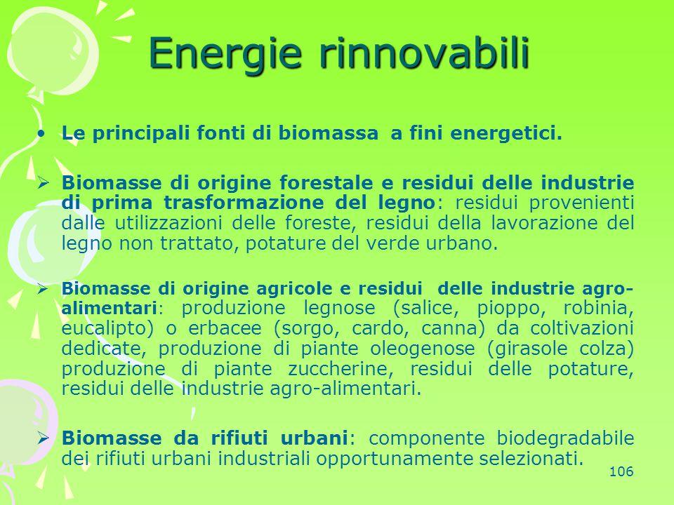 106 Energie rinnovabili Le principali fonti di biomassa a fini energetici.  Biomasse di origine forestale e residui delle industrie di prima trasform