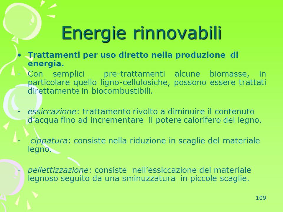 109 Energie rinnovabili Trattamenti per uso diretto nella produzione di energia. -Con semplici pre-trattamenti alcune biomasse, in particolare quello
