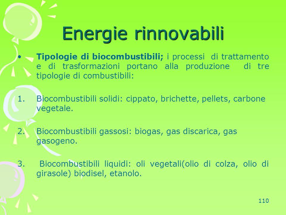 110 Energie rinnovabili Tipologie di biocombustibili; i processi di trattamento e di trasformazioni portano alla produzione di tre tipologie di combus