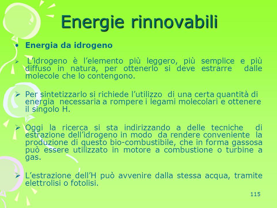 115 Energie rinnovabili Energia da idrogeno  L'idrogeno è l'elemento più leggero, più semplice e più diffuso in natura, per ottenerlo si deve estrarr