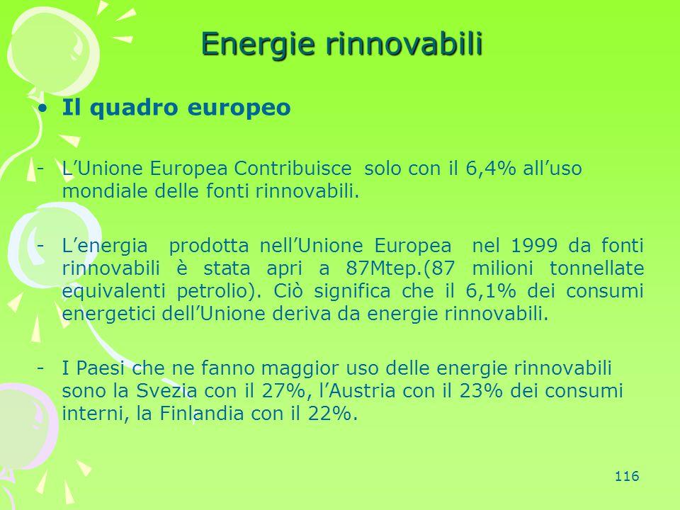 116 Energie rinnovabili Il quadro europeo -L'Unione Europea Contribuisce solo con il 6,4% all'uso mondiale delle fonti rinnovabili. -L'energia prodott