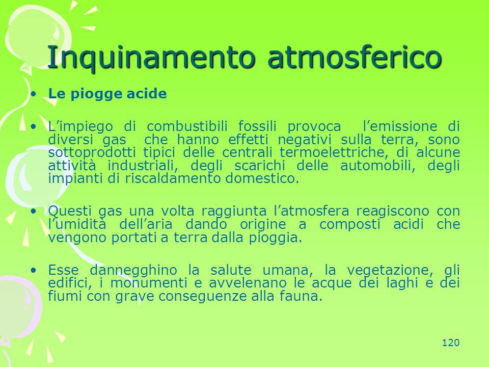 120 Inquinamento atmosferico Le piogge acide L'impiego di combustibili fossili provoca l'emissione di diversi gas che hanno effetti negativi sulla ter