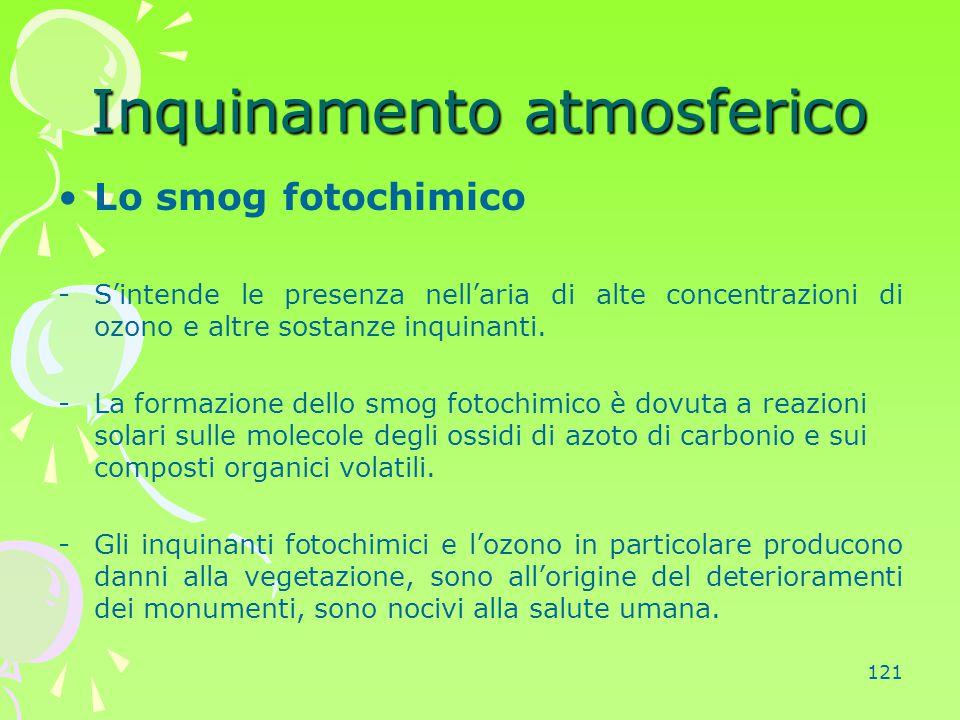121 Inquinamento atmosferico Lo smog fotochimico -S'intende le presenza nell'aria di alte concentrazioni di ozono e altre sostanze inquinanti. -La for
