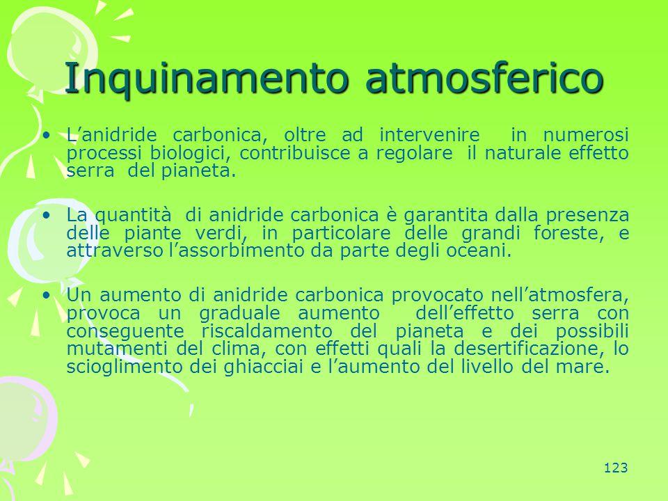 123 Inquinamento atmosferico L'anidride carbonica, oltre ad intervenire in numerosi processi biologici, contribuisce a regolare il naturale effetto se