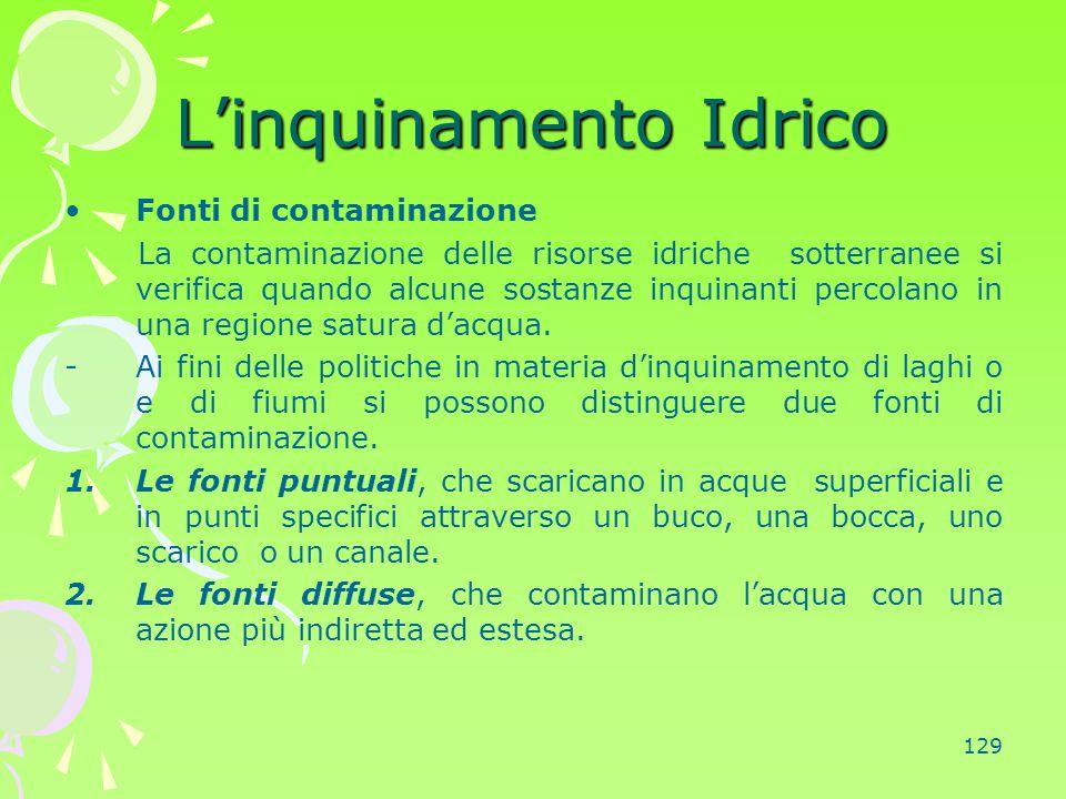 129 L'inquinamento Idrico Fonti di contaminazione La contaminazione delle risorse idriche sotterranee si verifica quando alcune sostanze inquinanti pe