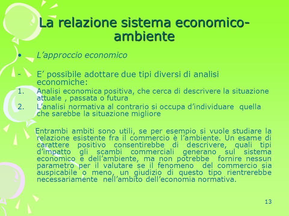 13 La relazione sistema economico- ambiente L'approccio economico -E' possibile adottare due tipi diversi di analisi economiche: 1.Analisi economica p