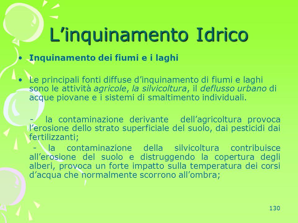 130 L'inquinamento Idrico Inquinamento dei fiumi e i laghi Le principali fonti diffuse d'inquinamento di fiumi e laghi sono le attività agricole, la s