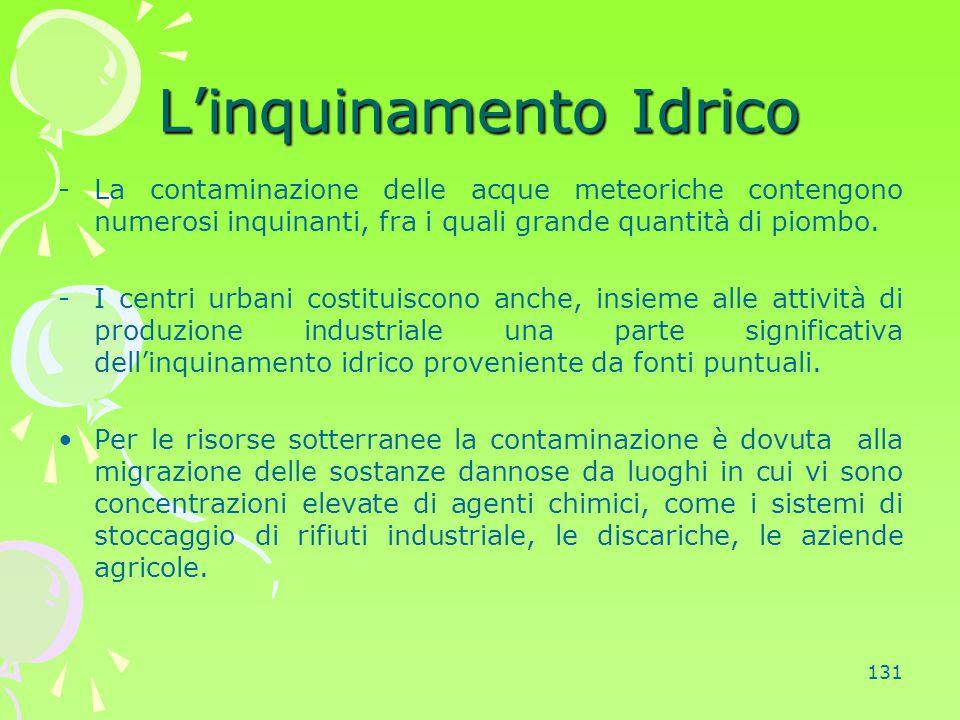 131 L'inquinamento Idrico -La contaminazione delle acque meteoriche contengono numerosi inquinanti, fra i quali grande quantità di piombo. -I centri u