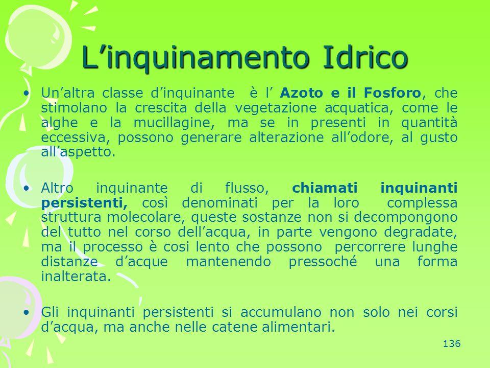 136 L'inquinamento Idrico Un'altra classe d'inquinante è l' Azoto e il Fosforo, che stimolano la crescita della vegetazione acquatica, come le alghe e