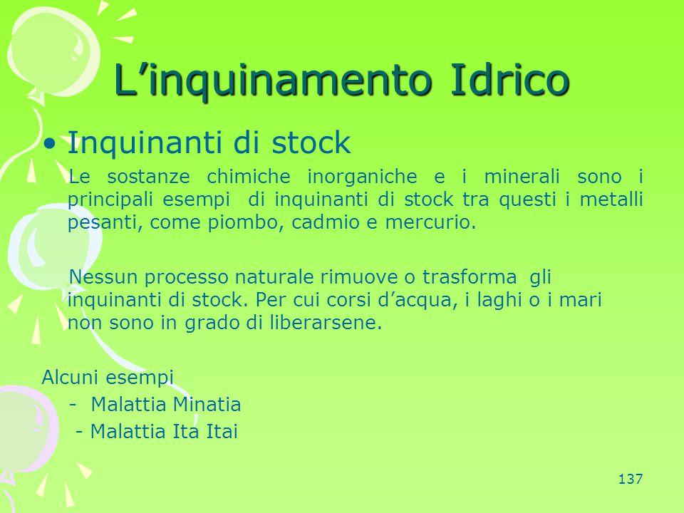 137 L'inquinamento Idrico Inquinanti di stock Le sostanze chimiche inorganiche e i minerali sono i principali esempi di inquinanti di stock tra questi