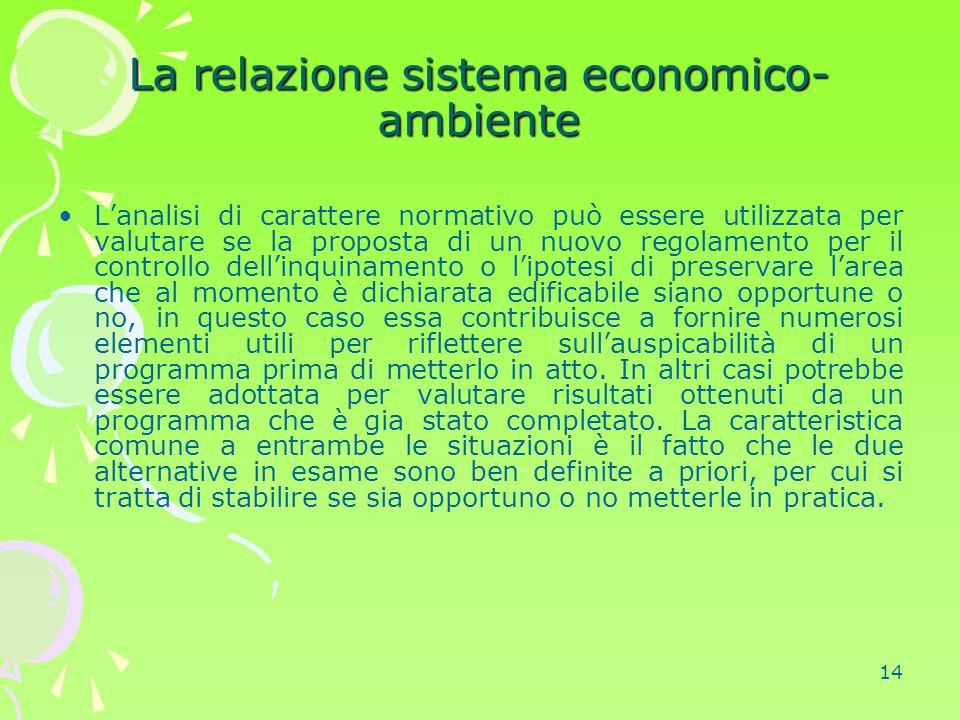 14 La relazione sistema economico- ambiente L'analisi di carattere normativo può essere utilizzata per valutare se la proposta di un nuovo regolamento