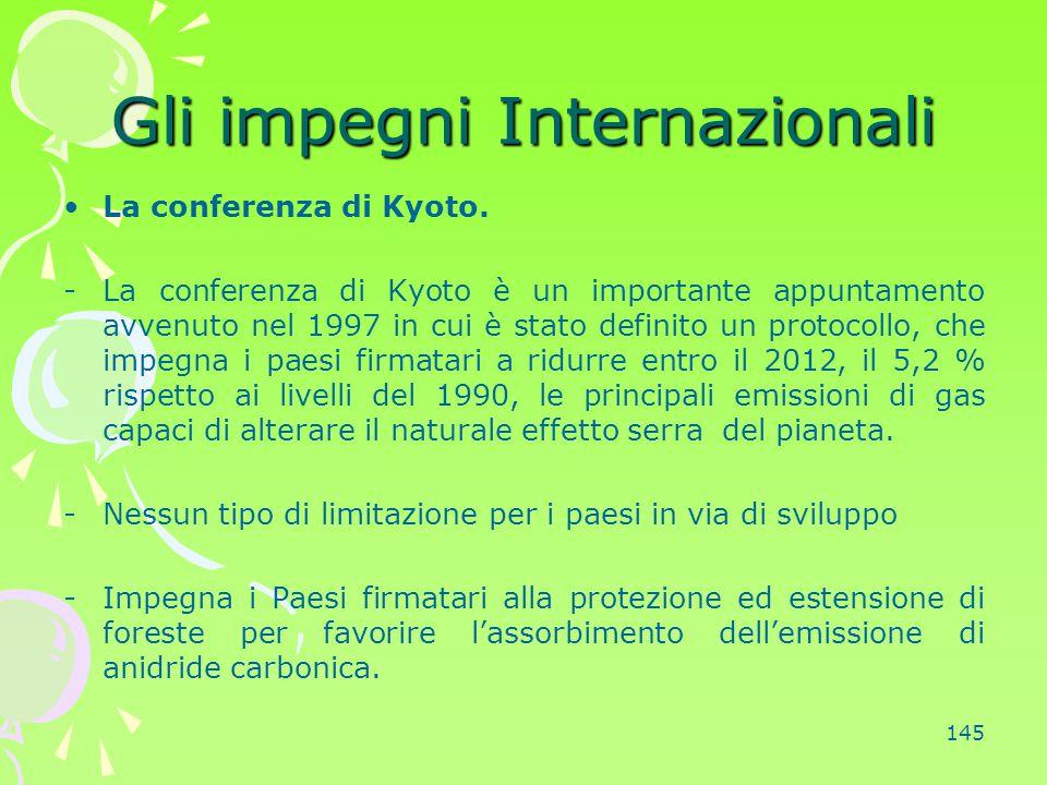 145 Gli impegni Internazionali La conferenza di Kyoto. -La conferenza di Kyoto è un importante appuntamento avvenuto nel 1997 in cui è stato definito