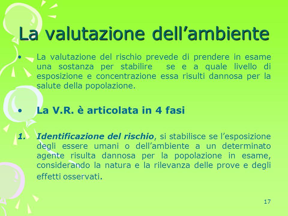 17 La valutazione dell'ambiente La valutazione del rischio prevede di prendere in esame una sostanza per stabilire se e a quale livello di esposizione