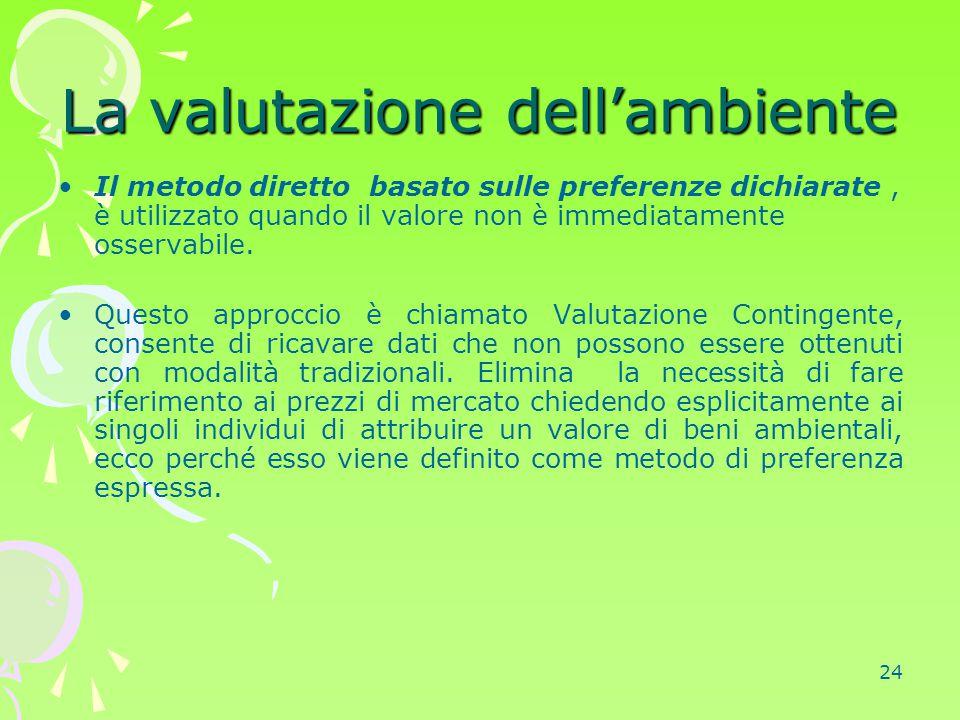 24 La valutazione dell'ambiente Il metodo diretto basato sulle preferenze dichiarate, è utilizzato quando il valore non è immediatamente osservabile.