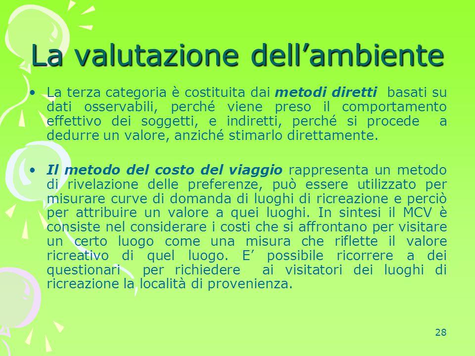 28 La valutazione dell'ambiente La terza categoria è costituita dai metodi diretti basati su dati osservabili, perché viene preso il comportamento eff
