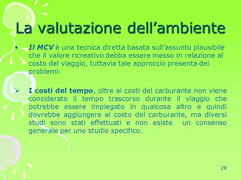 29 La valutazione dell'ambiente Il MCV è una tecnica diretta basata sull'assunto plausibile che il valore ricreativo debba essere messo in relazione a