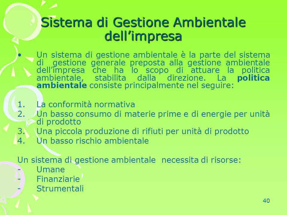 40 Sistema di Gestione Ambientale dell'impresa Un sistema di gestione ambientale è la parte del sistema di gestione generale preposta alla gestione am
