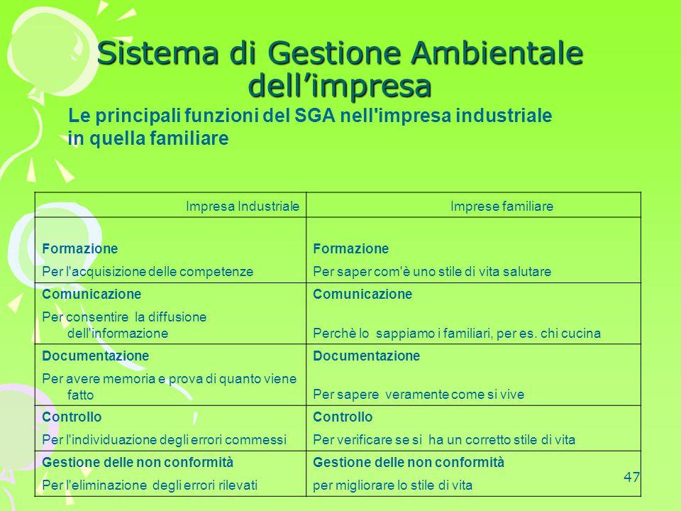 47 Sistema di Gestione Ambientale dell'impresa Le principali funzioni del SGA nell'impresa industriale in quella familiare Impresa Industriale Imprese