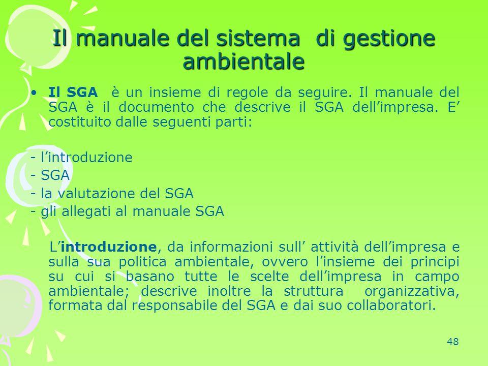 48 Il manuale del sistema di gestione ambientale Il SGA è un insieme di regole da seguire. Il manuale del SGA è il documento che descrive il SGA dell'