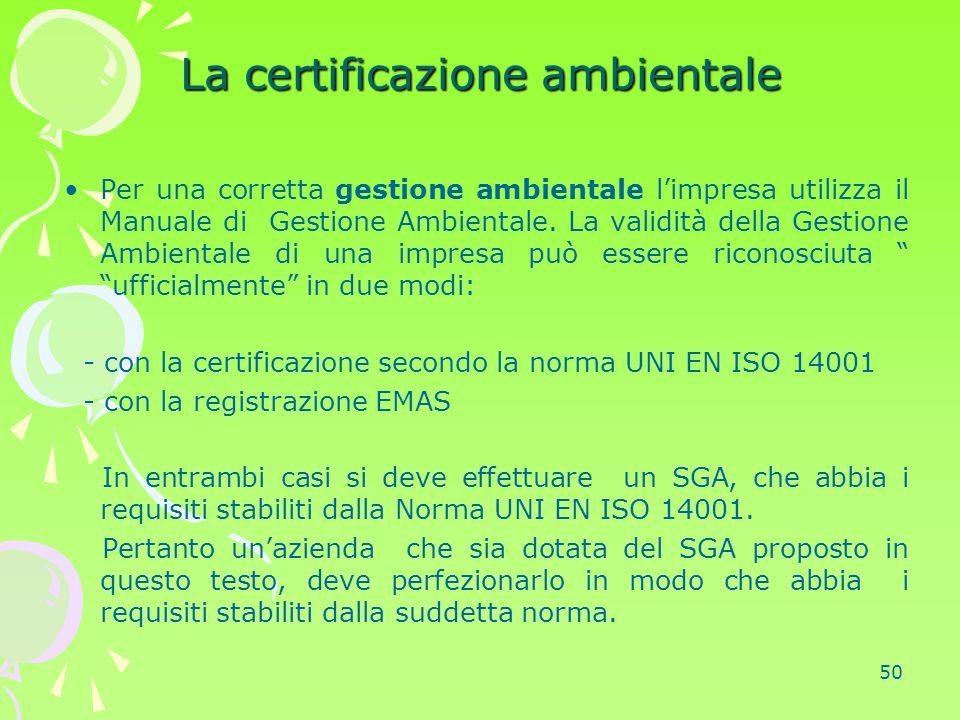 50 La certificazione ambientale Per una corretta gestione ambientale l'impresa utilizza il Manuale di Gestione Ambientale. La validità della Gestione