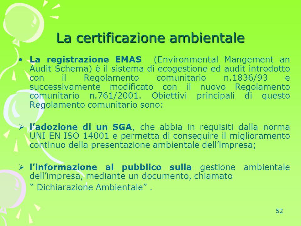 52 La certificazione ambientale La registrazione EMAS (Environmental Mangement an Audit Schema) è il sistema di ecogestione ed audit introdotto con il